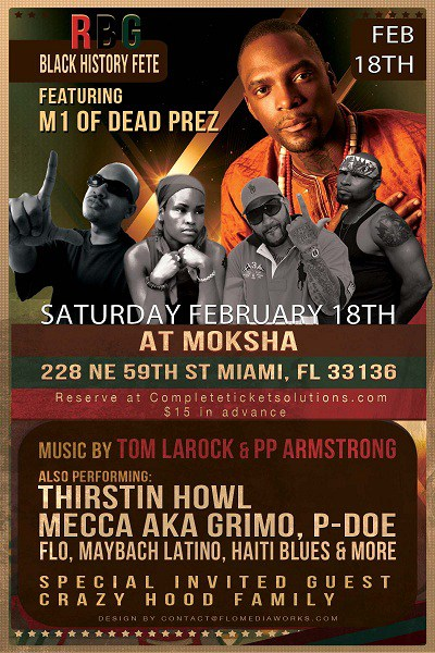 RBG Black History Fete Featuring M1 of Dead Prez - Saturday - February 18, 2012