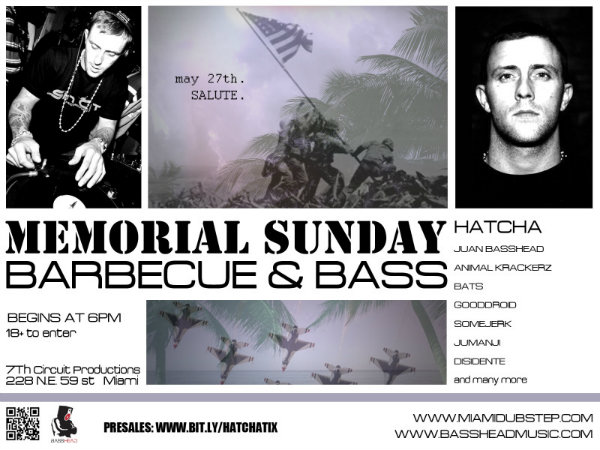 SALUTE! Memorial Sunday BBQ With DJ HATCHA (Sin City/UK) & BassHead Music!